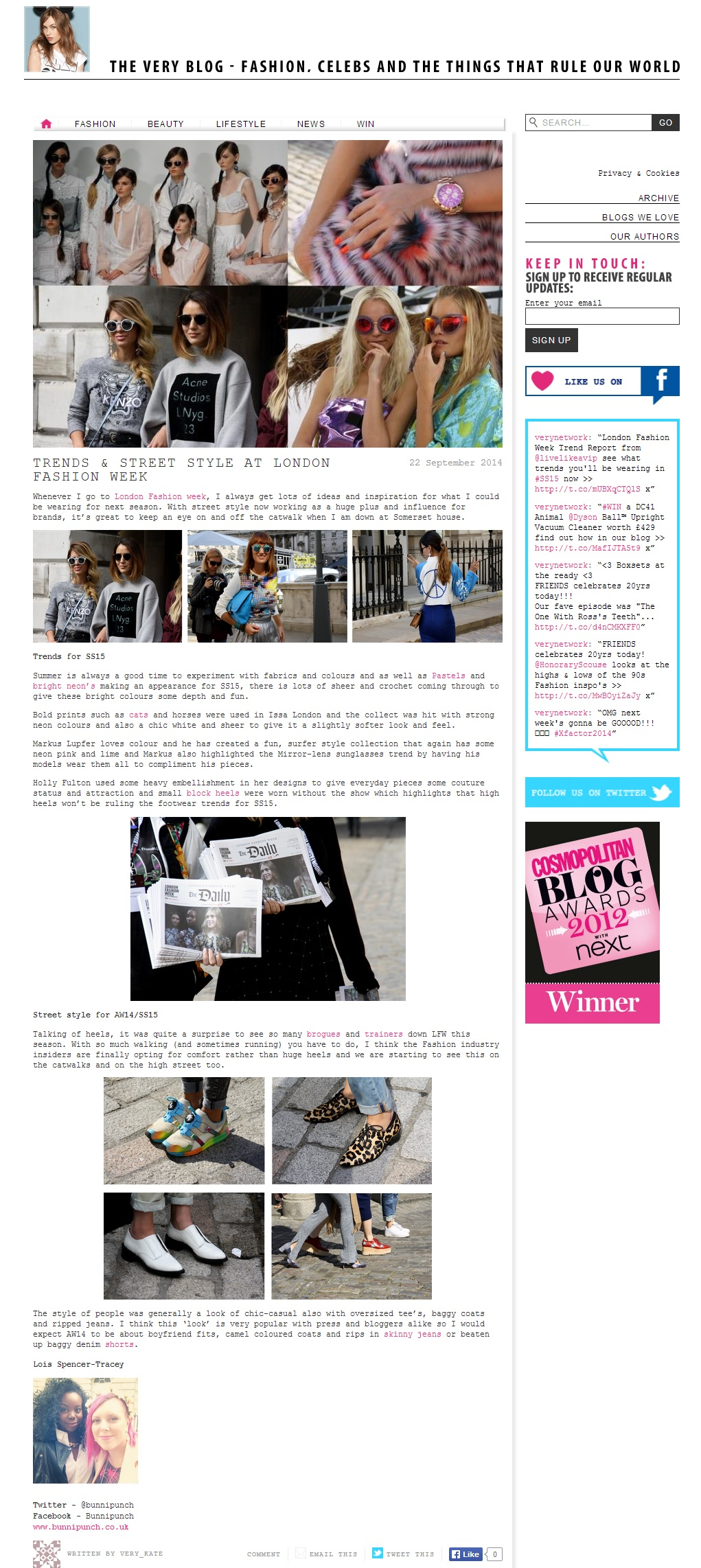 Blog on LFW SS15 with Very UK