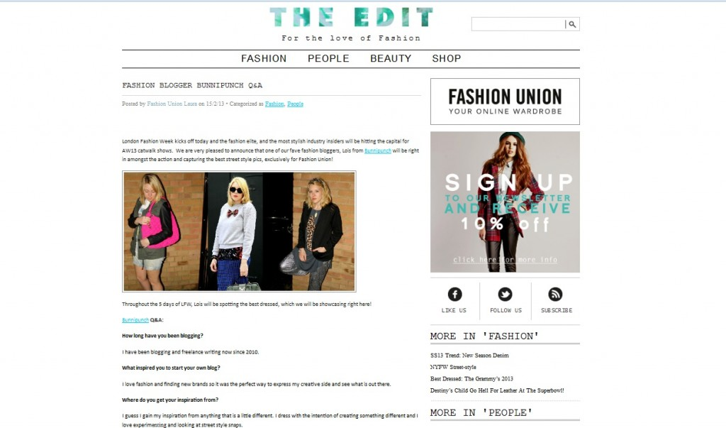 Fashion Union The Edit Q & A