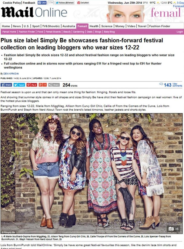 Simply Be Blogger coverage on Daily Mail 2014