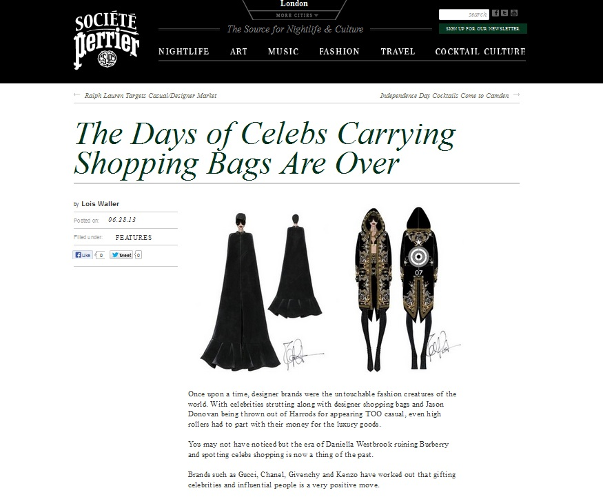 Celebs and their designer carrier bags Societe Perrier May 2013