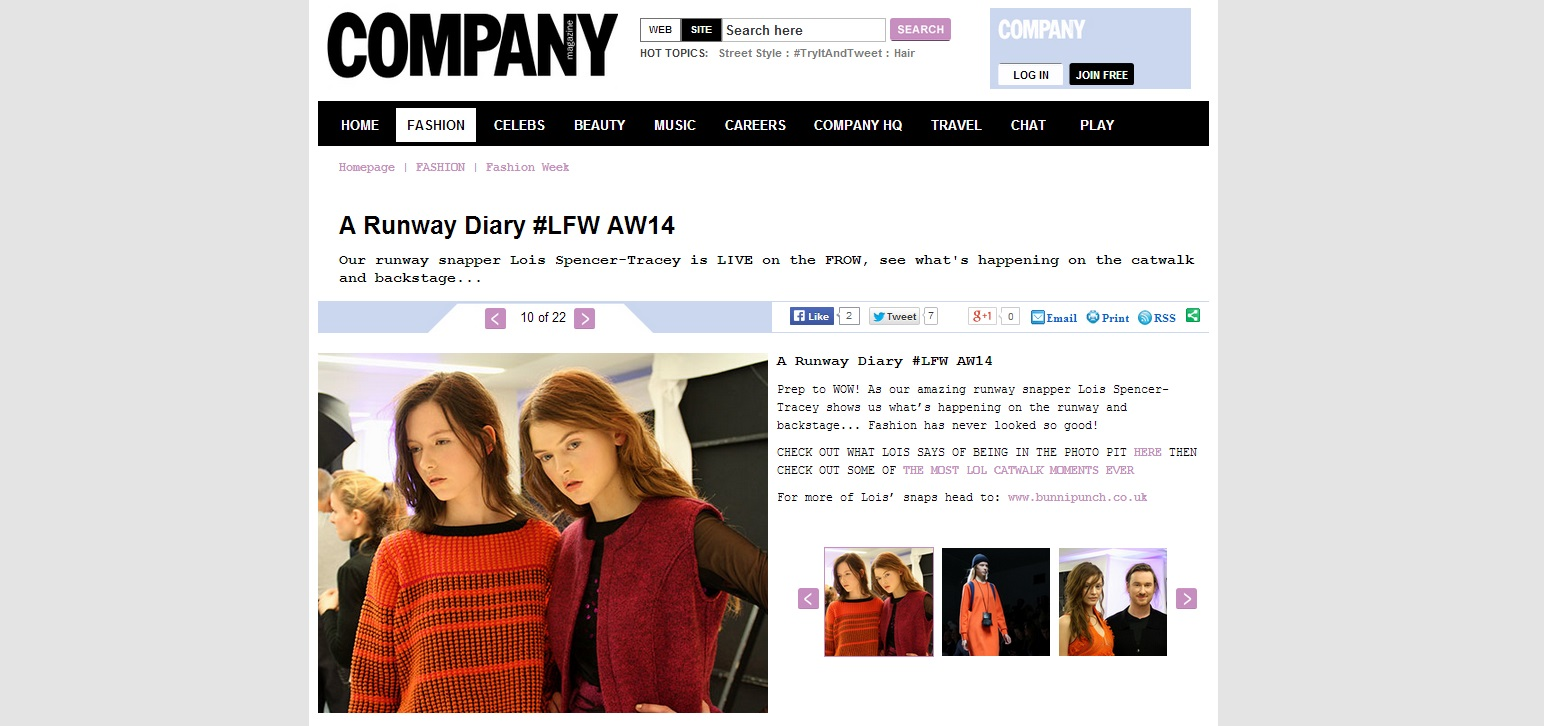 Company Magazine Runway Diary LFW for AW14