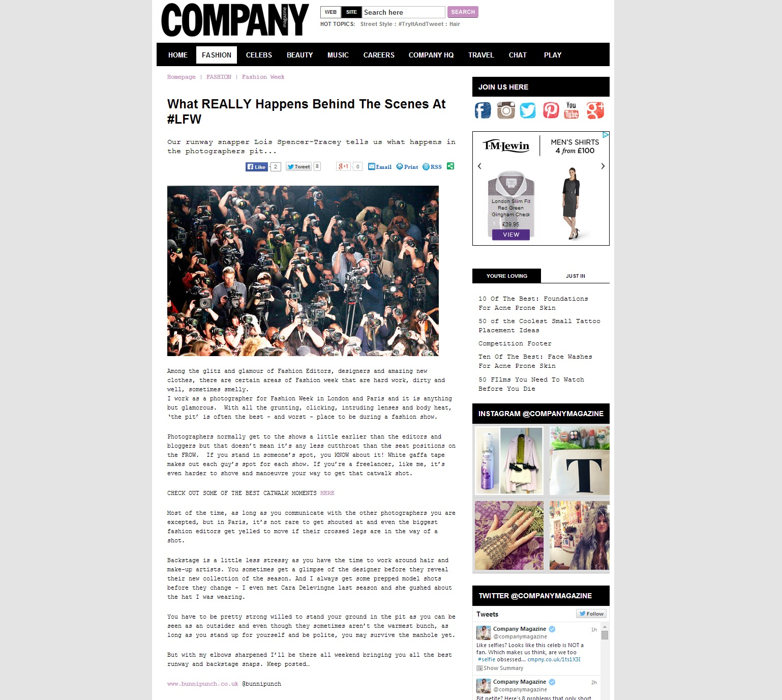 Company Magazine what happens in the pit at LFW for Feb 2014