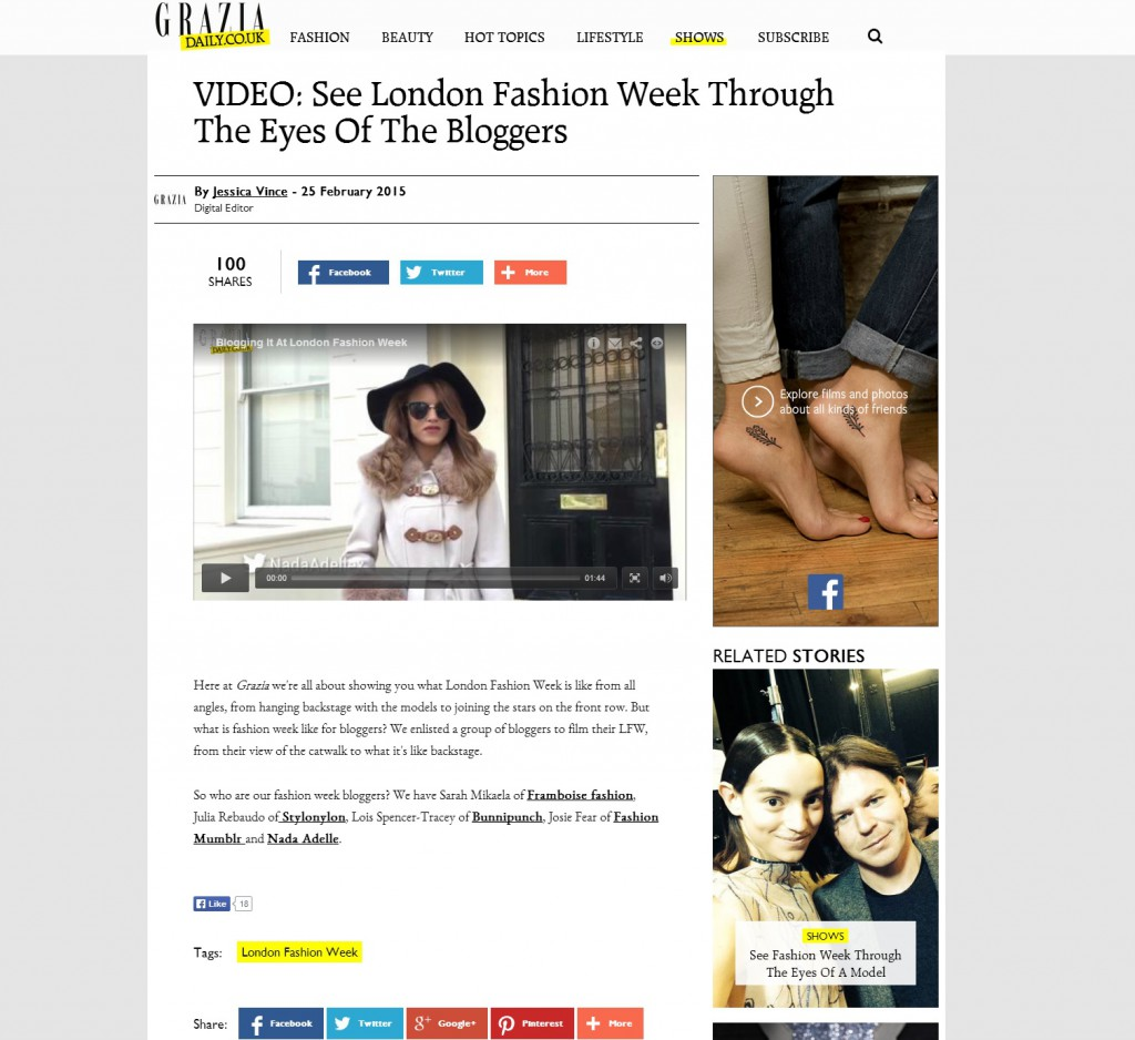 Grazia Blogger coverage LFW February 2-15