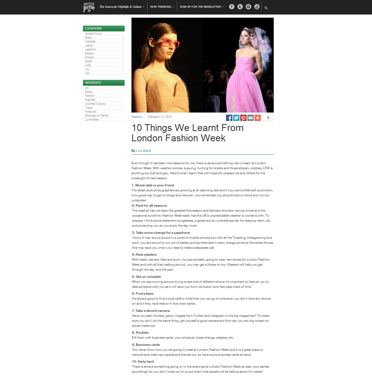 Societe perrier 10 things I leartn at LFW Feb 2014
