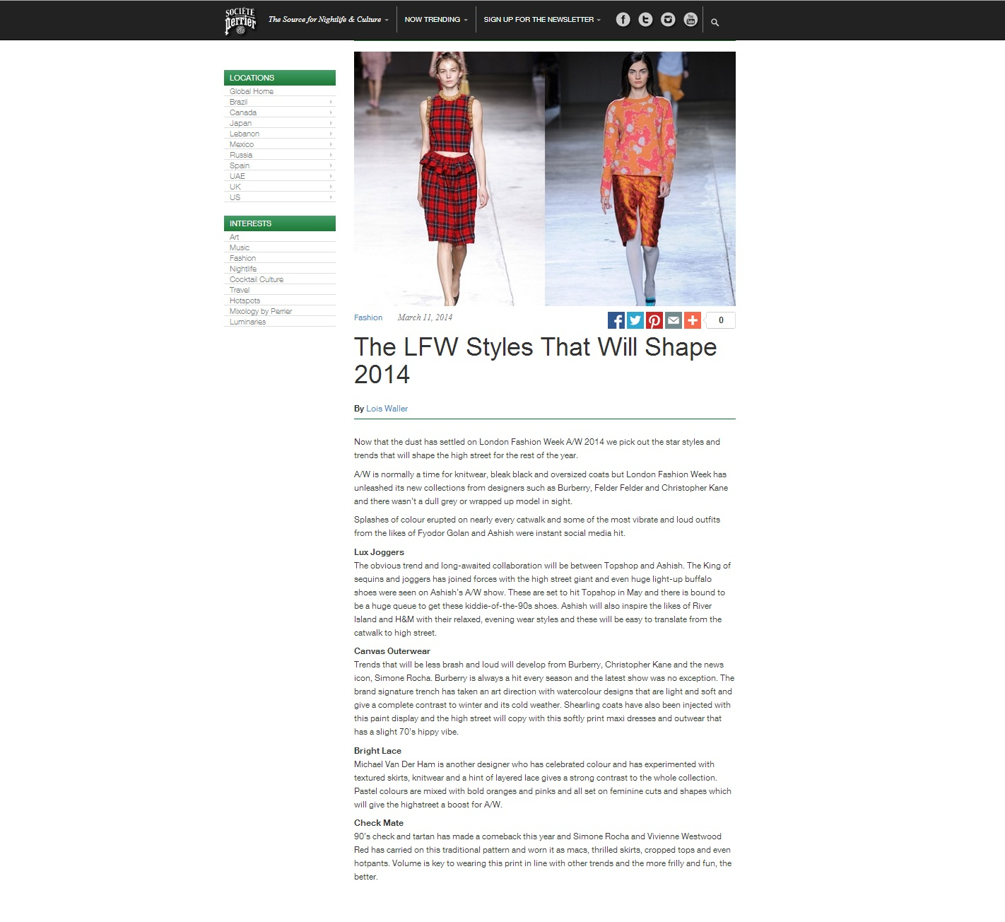 Societe perrier LFW Styles for 2014 March 2014