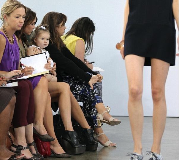 Harper Beckham new york fashion week watches mum's fashion show
