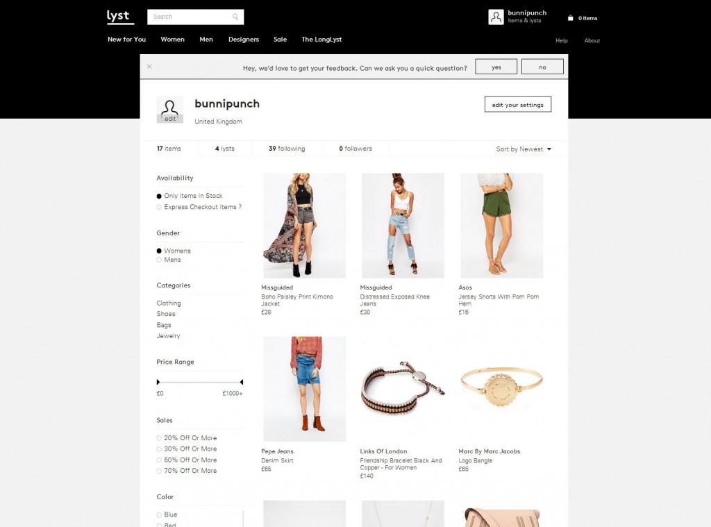 Lyst website